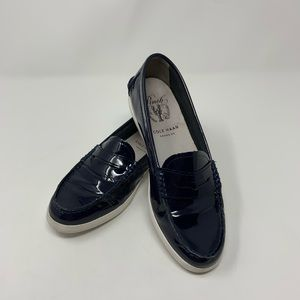 Cole Haan Patent Navy Pinch Weekend Penny Loafers